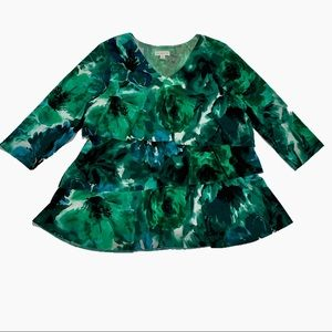 Susan Graver Tiered Ruffle Liquid Knit Tunic 💚